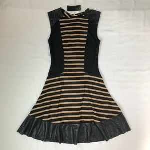 Striped Faux Leather Accent Flattering Dress